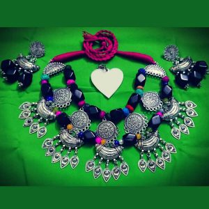 Original German Silver with Fabric Beeds Necklace
