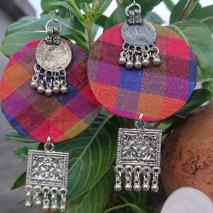 oxidize fabric handmade jhumka 4 - Free Delivery All Over India