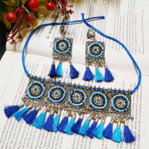 EcoHindu-Blue-Pompom-Oxidize-Necklace-Handmade-Oxidize-Jewellery-28September