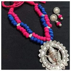 EcoHindu-Handmade-Pink-Blue-Silk-Thread-Dhokara-Pendent-Dhokara-Jewellery-26September