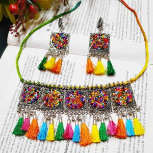 EcoHindu-Multicolor-Pompom-Oxidize-Necklace-Handmade-Oxidize-Jewellery-28September