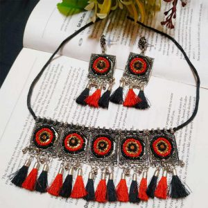 EcoHindu-Red-Black-Pompom-Oxidize-Necklace-Handmade-Oxidize-Jewellery-28September