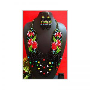 Handmade Black-Red-Green Color Jeco Necklace