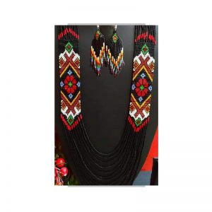 Handmade Black-White-Red-Green Color Jeco Necklace