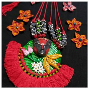 ecohindu-Red-Pompom-with-Clay-Necklace-handmadejewellery-26september