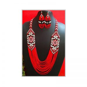 Handmade red layer with white design jeco jewellery