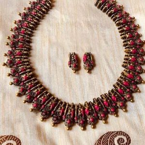 Jewellery Set Dark Pink and Golden Neck Fit (Made To Order)