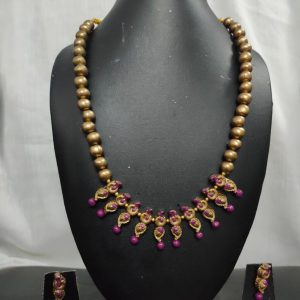 Jewellery Set Purple and Dark Golden (Made To Order)