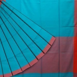 Khadi cotton in teal blue and red