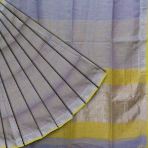 Linen saree in grey and yellow