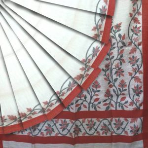 Matka Silk Jamdani saree in white with red border and floral motifs