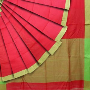 Khadi cotton in Orange red and parrot green