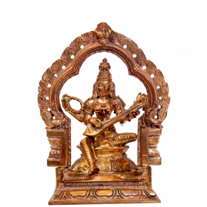 Sitting Saraswathi Bronze Idol