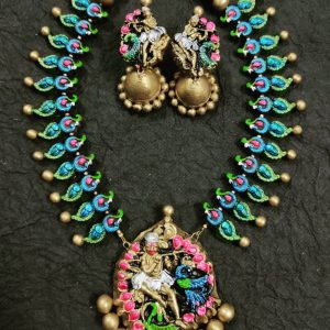 Terracotta Handmade Indian Temple Jewelry set (Made to order)