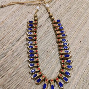 TERRACOTTA HANDMADE DESIGNER Indian Junk Style JEWELRY Necklace Gold base beautified with Red & Blue Studded Stones