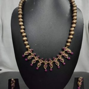 TERRACOTTA HANDMADE DESIGNER Indian Traditional JEWELRY Necklace with Earrings Golden Beads & Motifs with Purple Beads