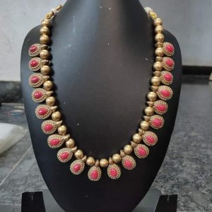 TERRACOTTA HANDMADE INDIAN DESIGNER JEWELRY Necklace in Golden Base Leafs with Pink Studded Stones