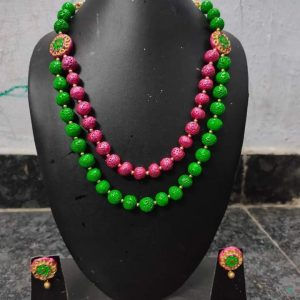 TERRACOTTA HANDMADE DESIGNER Traditional JEWELRY Necklace & Earings in Green & Pink Big Size Beads