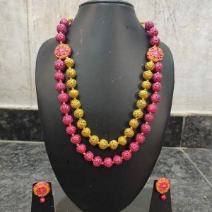 TERRACOTTA HANDMADE DESIGNER Traditional JEWELRY Necklace & Earings in Yellow & Pink Big Size Beads