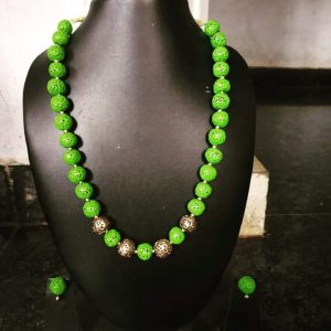 TERRACOTTA HANDMADE INDIAN DESIGNER JEWELRY Necklace with Green & Golden Beads