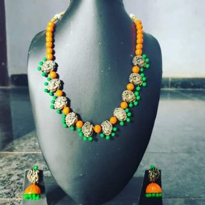 TERRACOTTA HANDMADE DESIGNER Traditional JEWELRY Necklace with Jhumka Earings in Orange & Green Beads with Gold Motiffs