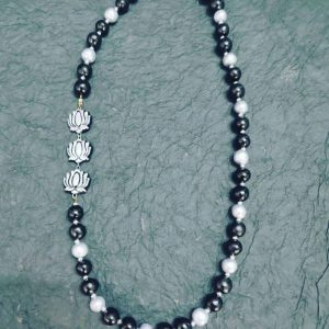 TERRACOTTA HANDMADE INDIAN DESIGNER JEWELRY Necklace with Silver Budha Lotus & Black Beads, for Yoga & Meditation