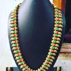 TERRACOTTA HANDMADE DESIGNER Indian Traditional JEWELRY Necklace with Earrings Golden Leaf Motifs Studded in Green & Red