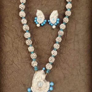 TERRACOTTA HANDMADE INDIAN DESIGNER JEWELRY Necklace & Earrings in Silver Base with Sky Blue Beads