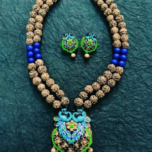 TERRACOTTA HANDMADE DESIGNER JEWELRY Necklace with Eardrops in Antique Gold Rudhraksh Style Golden Brown & Blue Beads With Peacock Motif Pendant