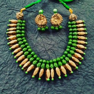 TERRACOTTA HANDMADE INDIAN DESIGNER JEWELRY Necklace with Earings with Tribal Green & Golden Beads