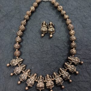 TERRACOTTA HANDMADE INDIAN DESIGNER JEWELRY Necklace with Drop Earings in Antique Silver Lotus Motiffs Base & Black Beads (Made to order)