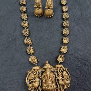 TERRACOTTA HANDMADE DESIGNER GANESHA TEMPLE JEWELRY Necklace with Jhumka Earings in Antique Gold