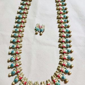 TERRACOTTA HANDMADE DESIGNER Indian Junk Style JEWELRY Necklace & Earrings Set  with Silver based Drop Motifs beautified with Red & Blue Studded Stones