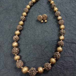 TERRACOTTA HANDMADE DESIGNER  JEWELRY Necklace with Eardrops in Antique Gold with Rudraksh Style Beads