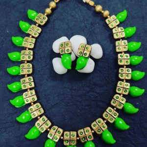 TERRACOTTA HANDMADE DESIGNER JEWELRY Necklace with Earings in Parrot Green & Golden Base Leafs