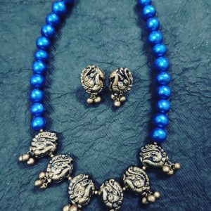 TERRACOTTA HANDMADE INDIAN DESIGNER JEWELRY Necklace with Earings in Antique Black Silver Base Peacock Motiffs & Blue Beads