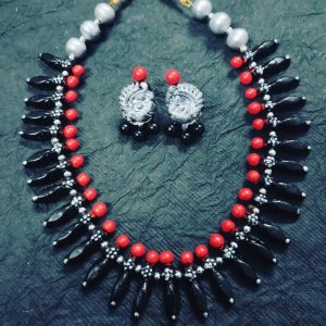 TERRACOTTA HANDMADE INDIAN DESIGNER JEWELRY Necklace with Earings in Antique Silver Base with Tribal Black & Red Beads along with Peacock Motiffs