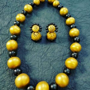 TERRACOTTA HANDMADE INDIAN DESIGNER JEWELRY Necklace with Jhumka Earings in Golden Yellow & Black Big Beads
