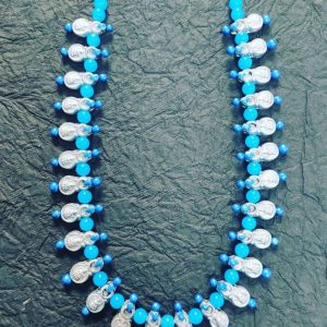 TERRACOTTA HANDMADE INDIAN DESIGNER LAXMI TEMPLE JEWELRY Necklace in Silver Base with Sky Blue Beads