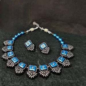 TERRACOTTA HANDMADE DESIGNER JEWELRY Necklace with Earings in Antique Black Silver with Blue Square Studded Stones