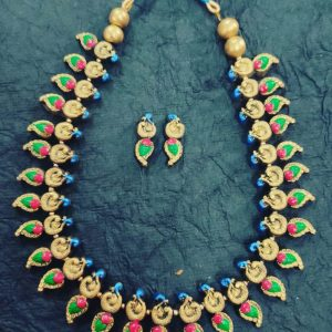 TERRACOTTA HANDMADE INDIAN DESIGNER JEWELRY Necklace With Earrings with Golden Base Leaf Motifs along with Green & Pink Studded Stone with Blue drops